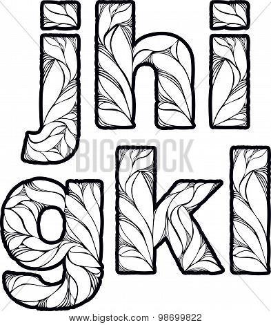 Vintage ornamental beautiful font, typeset with floral elegant ornament. G, h, I, j, k, l, letters