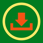 Download raster icon. This rounded flat symbol is drawn with orange and yellow colors on a green background. poster