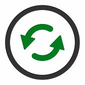 Refresh Ccw raster icon. This rounded flat symbol is drawn with green and gray colors on a white background. poster