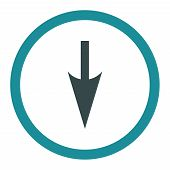 Sharp Down Arrow raster icon. This rounded flat symbol is drawn with soft blue colors on a white background. poster