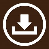 Download raster icon. This rounded flat symbol is drawn with white color on a brown background. poster