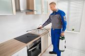 Young Male Pest Control Worker Spraying Pesticide On Induction Hob In Kitchen poster