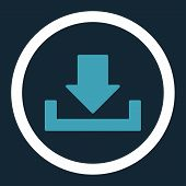 Download vector icon. This rounded flat symbol is drawn with blue and white colors on a dark blue background. poster