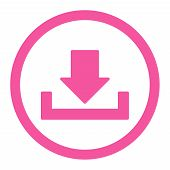 Download vector icon. This rounded flat symbol is drawn with pink color on a white background. poster