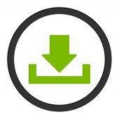 Download vector icon. This rounded flat symbol is drawn with eco green and gray colors on a white background. poster