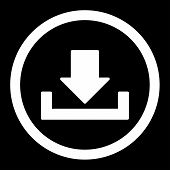 Download raster icon. This rounded flat symbol is drawn with white color on a black background. poster