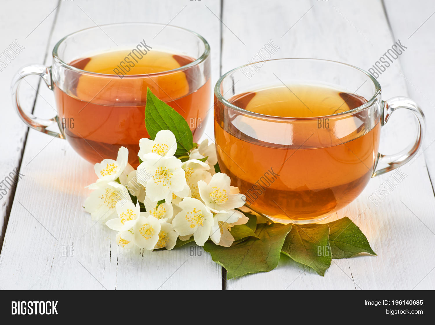 Two Cups Jasmine Tea Jasmine Image Photo Bigstock