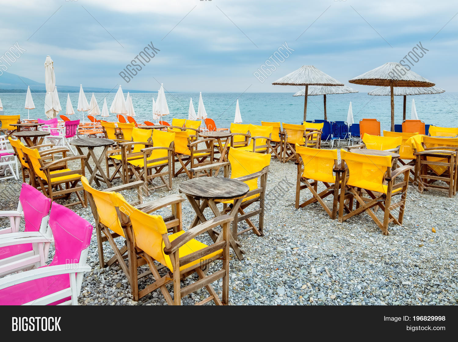 Tables Chairs On Beach Image Photo