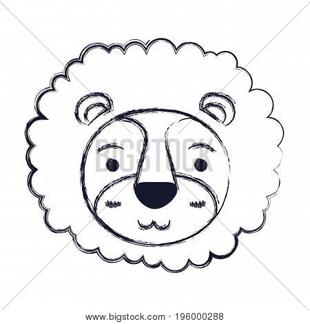 cute face of lion tranquility expression with mane vector illustration