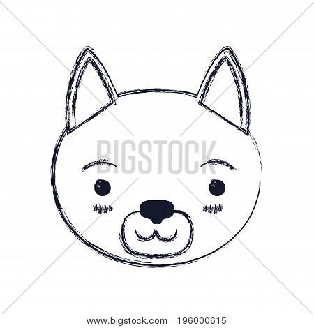 cute face of cat tranquility expression vector illustration