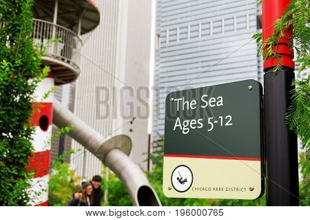 Chicago IL USA october 27 2016: The Sea area sign destinated to 5-12 ages children in Maggie Daley Park in Chicago