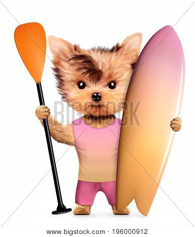 Funny animal wearing t-shirt, shorts and holding surf. Concept summer holidays, travel vacation concept. Realistic 3D illustration.