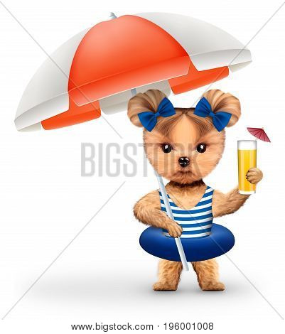 Funny animal in swimsuit and swimming ring holding cocktail and umbrella. Concept summer holidays, travel vacation concept. Realistic 3D illustration.