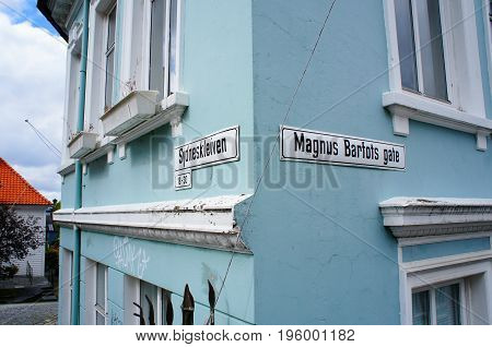 Street names in Bergen, Norway on a blue building
