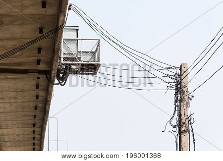 Electric power box which receives the electrical from the pole to use in the express way bridge.
