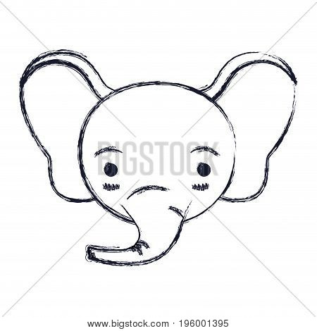 cute face of elephant tranquility expression vector illustration