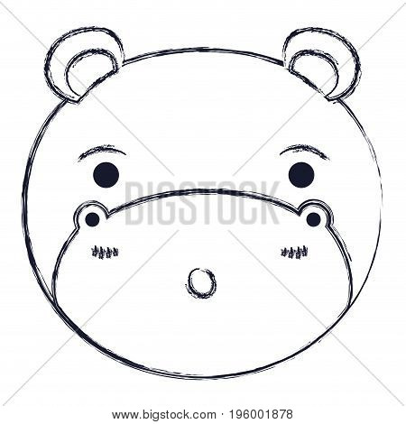 cute face of hippo surprised expression with eyes closed vector illustration