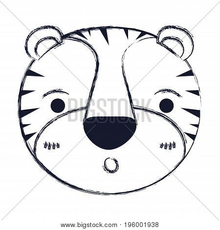 cute face of tiger surprised expression vector illustration