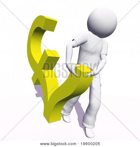 High resolution conceptual 3D human carrying a yellow pound symbol, isolated on white background.It is a metaphor ideal for business or banking design