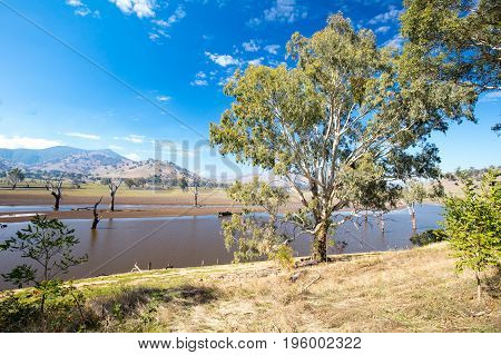 The view across Lake Hume and the Murray River from near Kiewa in Victoria, Australia