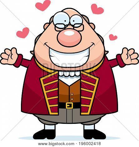 Cartoon Ben Franklin Hug