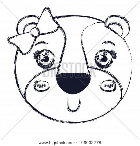 face female lioness animal smiling expression with bow lace vector illustration