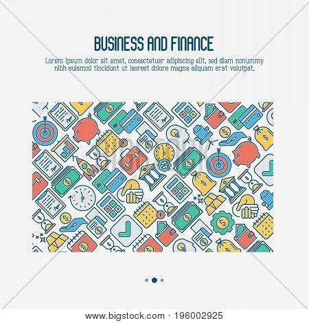 Business and finance concept with thin line icons related to financial strategy, planning, human thinking and start up. Vector illustration for banner, web page, print media.