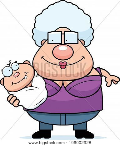 Cartoon Grandma Holding Baby