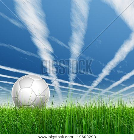 High resolution 3D soccer ball in green grass over a blue sky with plane traces or trails poster