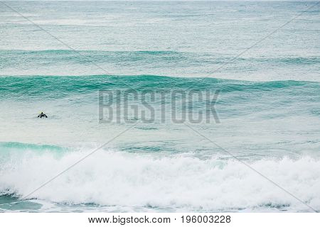 Blue wave in ocean, barrel wave. Swell in ocean