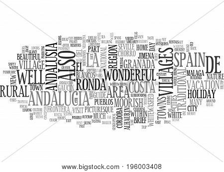A BRIEF GUIDE TO ANDALUCIA SPAIN TEXT WORD CLOUD CONCEPT
