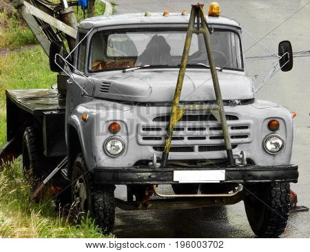 Truck, lorry, gray truck, trucking industry,  derrick, old truck