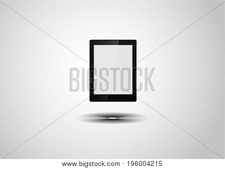 Tablet computer isolated on the grey background with the shadow