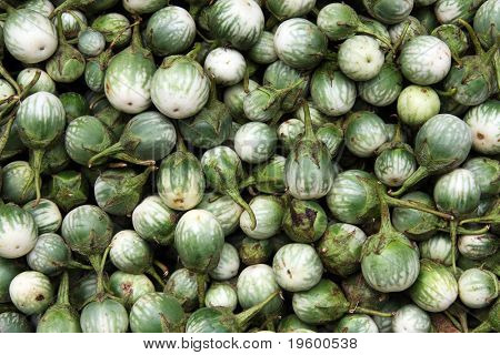 A background of Thai aubergines for sale at a Sri Lankan market. Thai aubergines are also know as Kermit, or Lao green-striped aubergines