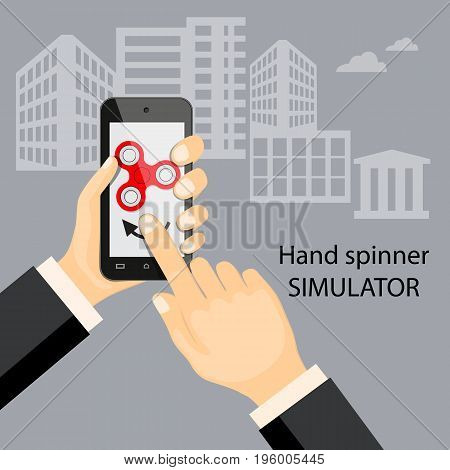 Flat modern design concept of playing with virtual fidget hand spinner. Illustration fidget spinner application on the mobile phone. eps 10.