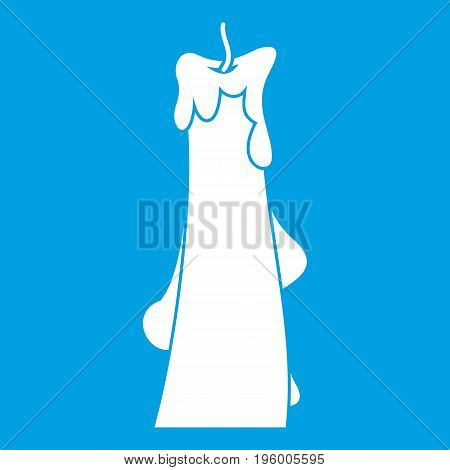 Dropped candle icon white isolated on blue background vector illustration