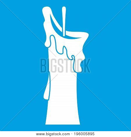 Little candle icon white isolated on blue background vector illustration