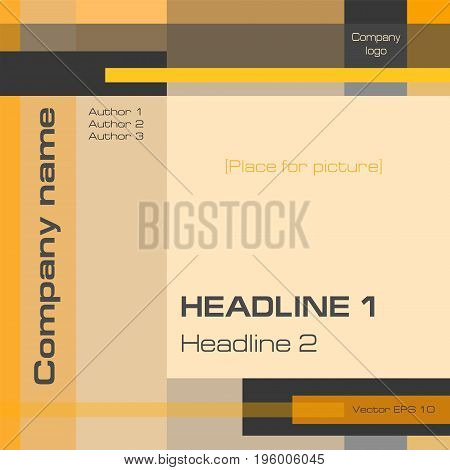 Minimalistic background, technology template, orange, brown, square. Layout geometric design with text for cover, annual report, business presentation, brochure, magazine, poster. EPS10 vector illustration