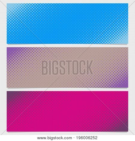 Halftone dot pattern horizontal banner set - vector graphic from circles in varying sizes