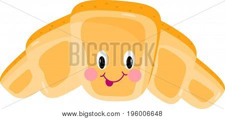 croissant cartoon eye vector crescent, crusty, funny, golden, cute, character, smile,