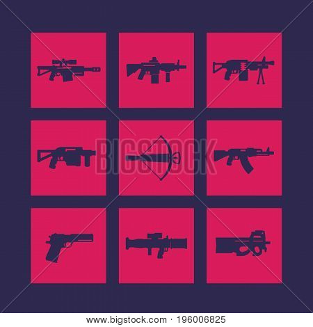 weapons, firearms icons set, sniper and assault rifles, pistol, crossbow, smg, machine gun, grenade, rocket launchers