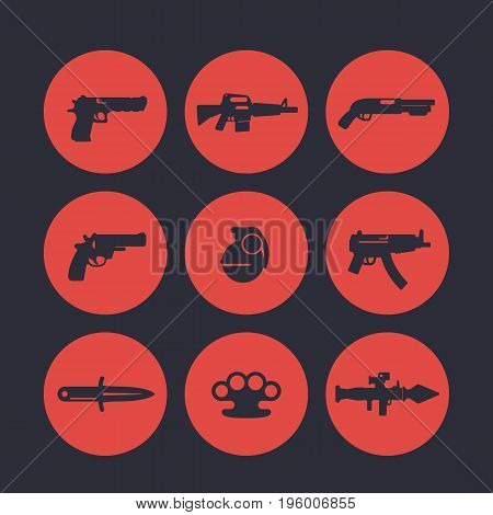 weapons icons set, pistol, assault rifle, revolver, shotgun, grenade, submachine gun, rocket launcher