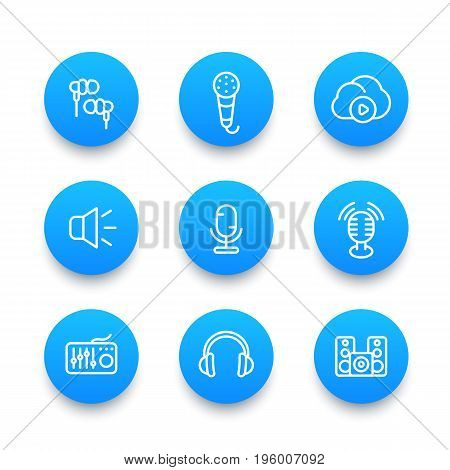 audio line icons set, sound mixing, microphones, recording, earbuds, headphones, speakers