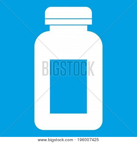 Medicine jar icon white isolated on blue background vector illustration