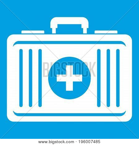 First aid icon white isolated on blue background vector illustration