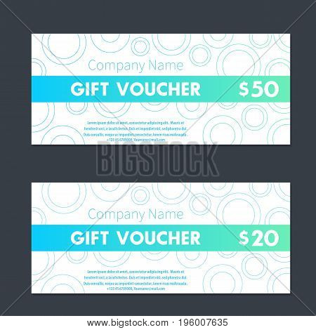 Gift voucher, certificate templates in aquamarine and white, eps 10 file, easy to edit