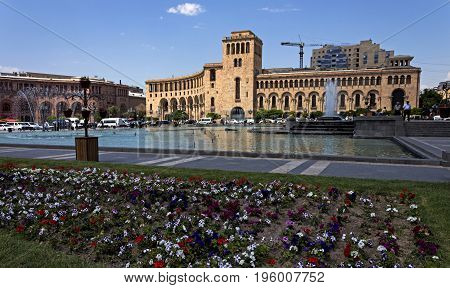 YEREVAN,ARMENIA - JULY 14,2017:The beautiful house on the Square of the Republic in Yerevan, Armenia.