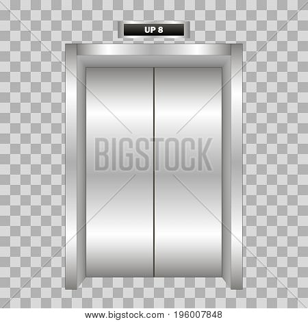 Closed metal office building elevator doors realistic isolated on plaid background