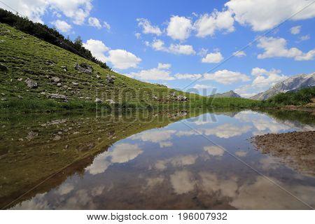 small lake on the karwendel mountains in austria