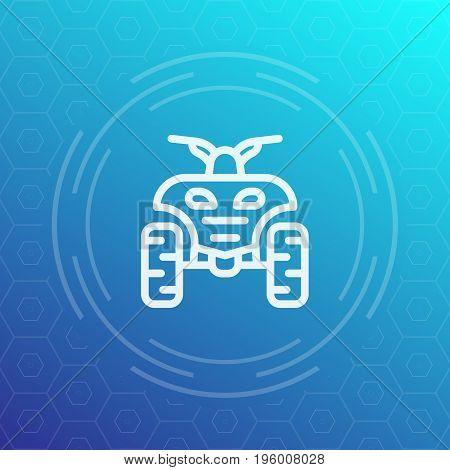 quad bike line icon, ATV, quadricycle vector pictogram